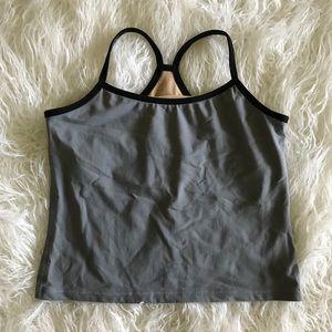 Lululemon Vintage Gray Black Crop Tank Top 8